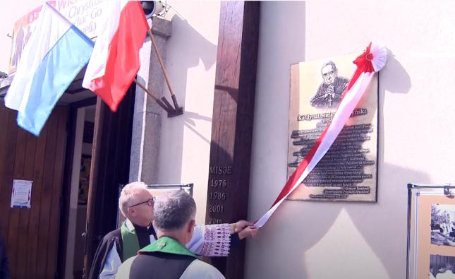 Poświęcenie ołtarza itablicy pamiątkowej wStrachówce